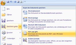PDF Dokumente aus Office erstellen / Speichern als Office 2003 Dokument