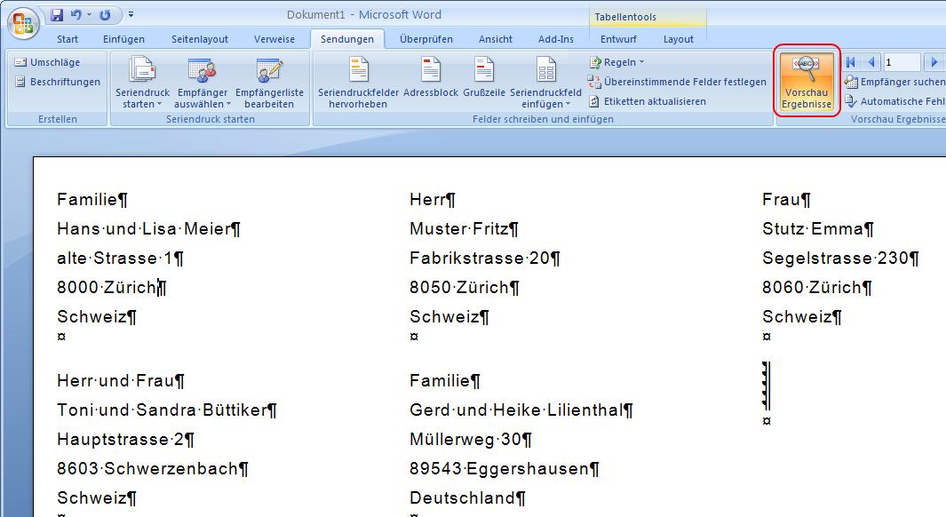 Serienbrief Etiketten in Word 2007 erstellen | CammaBlog