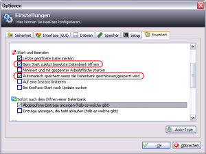 KeePass Optionen