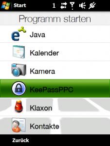 KeePass starten